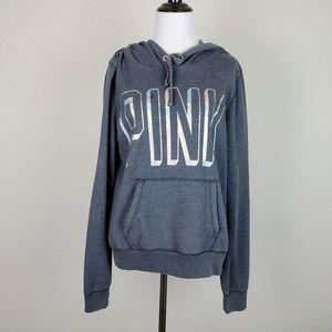 VS PINK Iridescent Gray Logo Hoodie Sweatshirt
